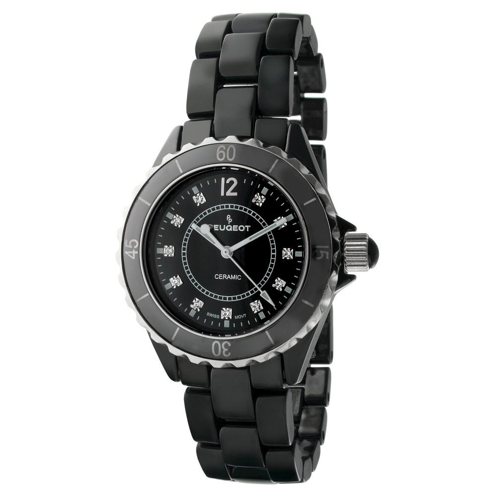 Peugeot Women's Black Genuine Ceramic Swiss Watch, Size: Small