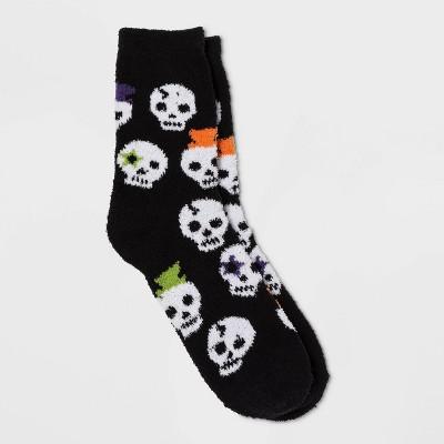 Women's Skull Cozy Halloween Crew Socks   Black One Size by Target
