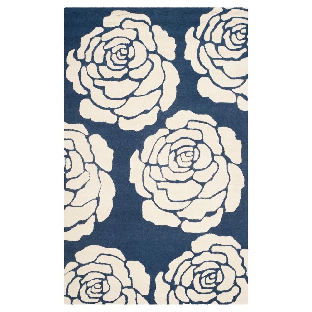 8'X10' Floral Area Rug Navy/Ivory (Blue/Ivory) - Safavieh
