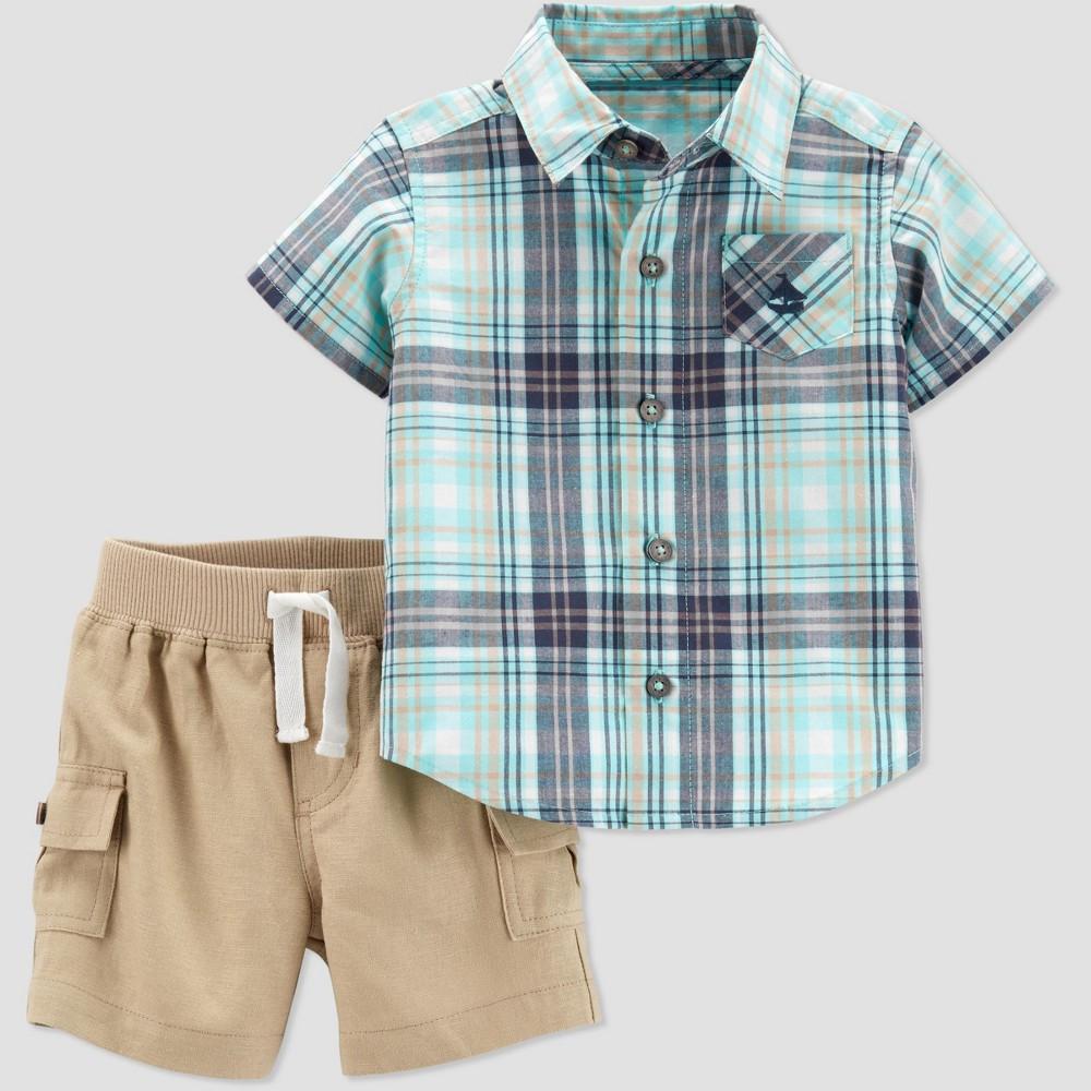 Baby Boys' 2pc Plaid Shirt Set - Just One You made by carter's Green/Brown 24M