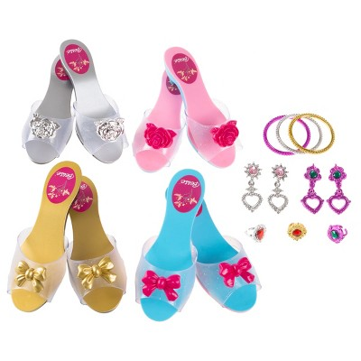 Toy Time Kids' Princess Dress-Up Accessory Set - 4 Pairs of Shoes, 3 Bracelets, 3 Rings, and 2 Pairs of Earrings