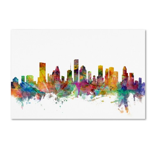 "'Houston Texas Skyline' by Michael Tompsett Ready to Hang Canvas Wall Art (30""x47"") - image 1 of 3"