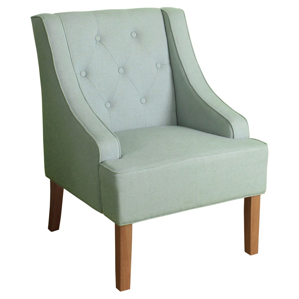 Kate Tufted Swoop Arm Accent Chair - Spa Blue - HomePop, Sky Blue