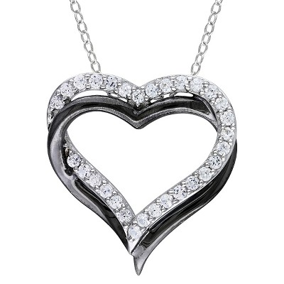 """5/8 CT. T.W. White Sapphire Heart Shaped Pendant in Sterling and Black Rhodium Plated Silver - 18"""" - White"""