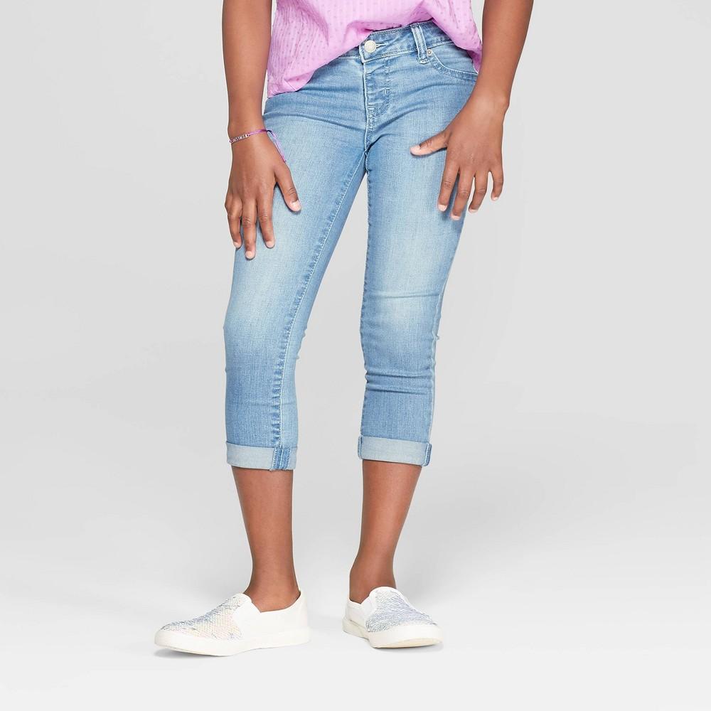 Girls' Crop Jeans - Cat & Jack Light Wash 10, Blue