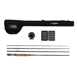 Osage River Prospect Beginner Fly Fishing Combo 9 Foot Rod and 5/6 Reel with Flies, Line, and Leader