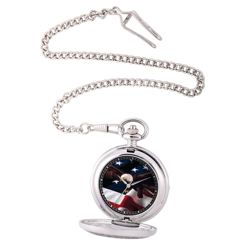 Image of Men's eWatchfactory Flag & Eagle Pocket Watch - Silver, Size: Small