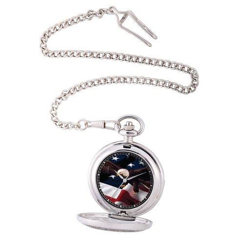 Men's eWatchfactory Flag & Eagle Pocket Watch - Silver - image 1 of 2