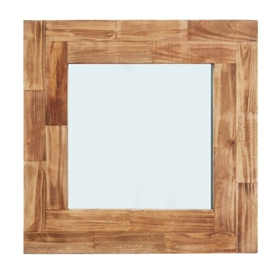 "31.5"" Square Wall Mirror Distressed Slatted Wood - Danya B."