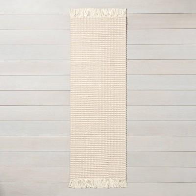 """2'4"""" x 7' Textured Stripe Runner Best Beige / Sour Cream - Hearth & Hand™ with Magnolia"""