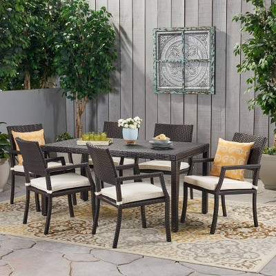 Rhode Island 7pc Rectangle All-Weather Wicker Patio Dining Set - Brown - Christopher Knight Home