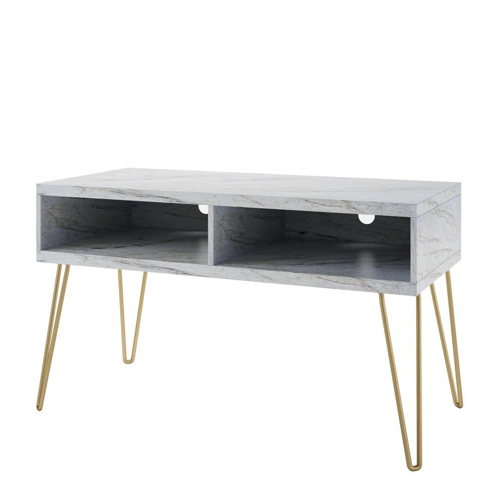 "Image of ""42"""" Athena TV Stand White - Novogratz, Gold White"""