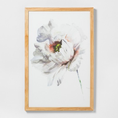 24  X 36  White Flower Wall Art with Natural Wood Frame - Hearth & Hand™ with Magnolia