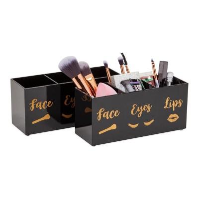 Glamlily 2 Pack Black Acrylic Makeup Brush Holderwith 3 Slot, Face, Eyes, Lips
