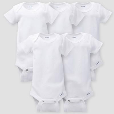 Gerber Baby 5pk Short Sleeve Onesies - White 0-3M