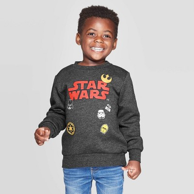 Toddler Boys' Star Wars Patches Crew Fleece Sweatshirt - Charcoal 2T