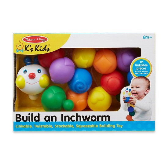 Melissa & Doug K's Kids Build an Inchworm Snap-Together Soft Block Set for Baby - Linkable, Twistable, Stackable, Squeezable image number null