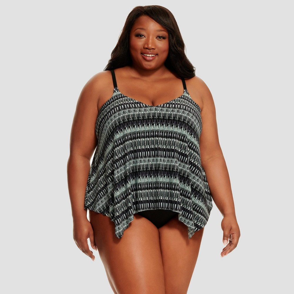 Women's Slimming Control Tankini Top - Dreamsuit by Miracle Brands Black/Blue 22W