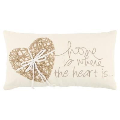 Rizzy Home Heart Throw Pillow Beige