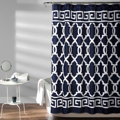 Maze Border Shower Curtain Navy - Lush Decor