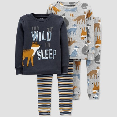 Baby Boys' 4pc Fox Pajama Set - Just One You® made by carter's Blue 9M