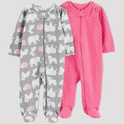 Baby Girls' 2pk Animals Long Sleeve Sleep 'N Play - Just One You® made by carter's Gray 6M