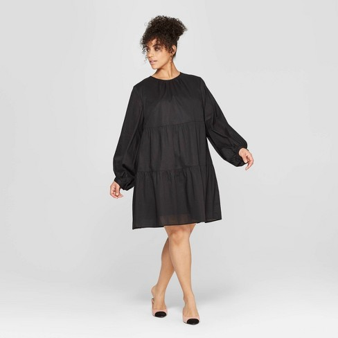 Women's Plus Size Long Sleeve Round Neck Flowy Tiered Mini Babydoll Dress - Who What Wear™ - image 1 of 3