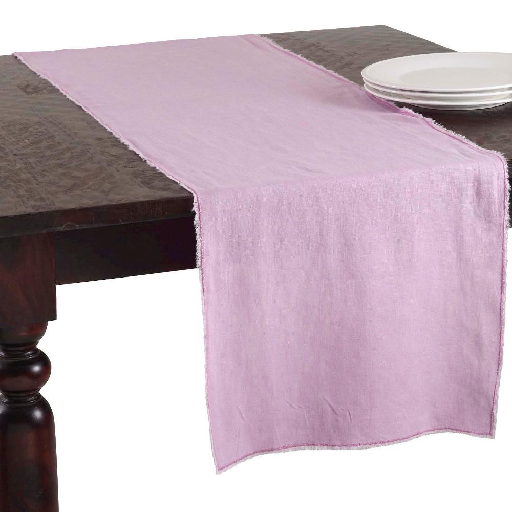 16 34 X72 34 Fringed Design Stone Washed Table Runner Lavender Saro Lifestyle
