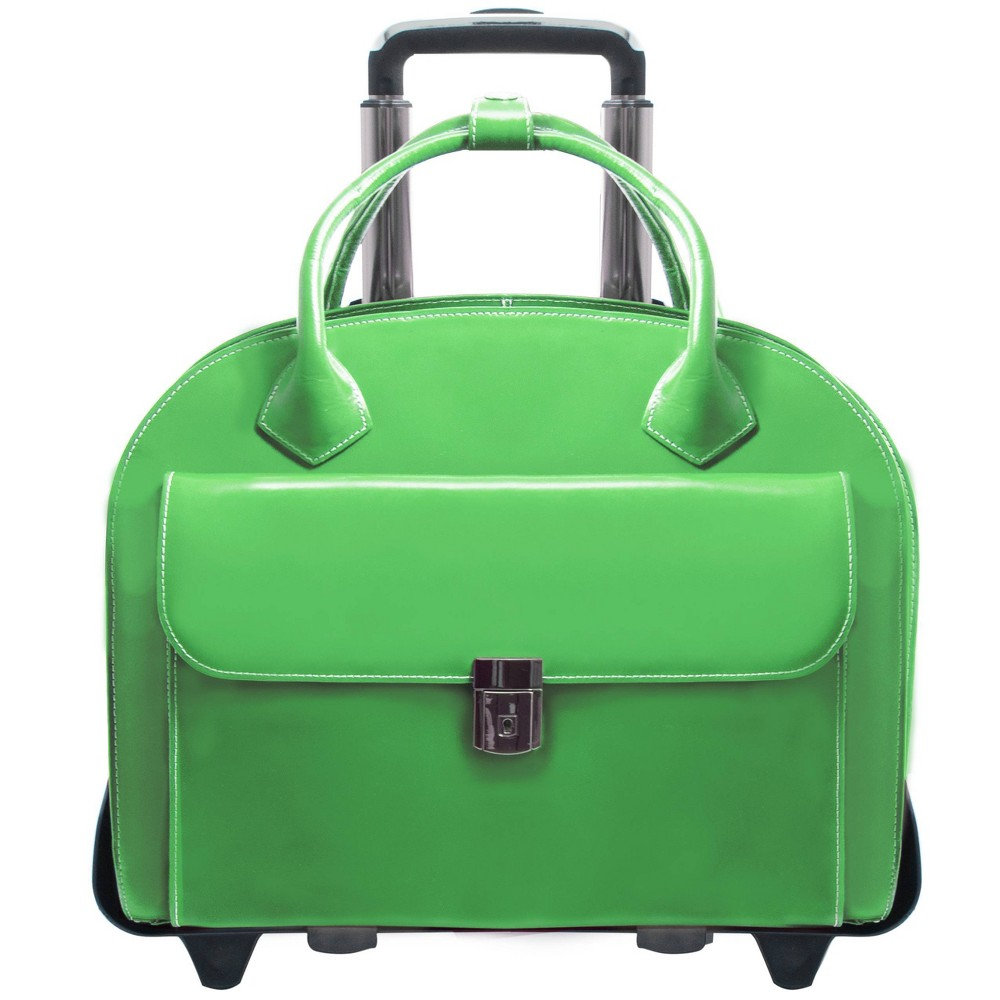 """Image of """"McKlein Glen Ellyn 15"""""""" Leather Patented Detachable - Wheeled Ladies' Laptop Briefcase (Green), Women's, Size: Small"""""""