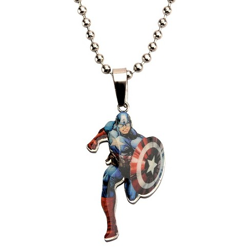 "Men's Boys' Marvel® Captain America Cut Out Stainless Steel Pendant (18"") - image 1 of 1"