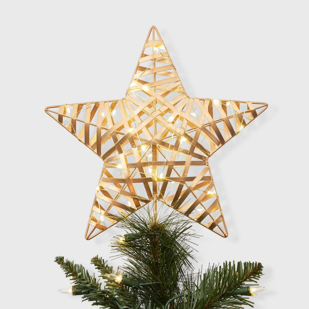 """Image of """"11.5"""""""" x 9.5"""""""" Dewdrop Lighted Metal Wrapped Star Christmas Tree Topper Gold - Wondershop"""""""
