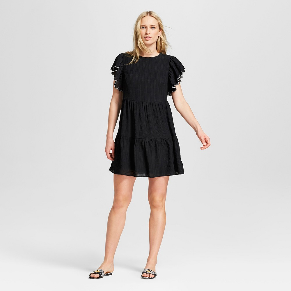 Women's Short Sleeve Tiered Mini Dress - Who What Wear Black L