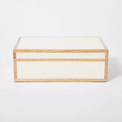"10"" x 6.5"" Decorative Wood Edge Trim Box with Resin Inlay Ivory - Threshold™ designed with Studio McGee"
