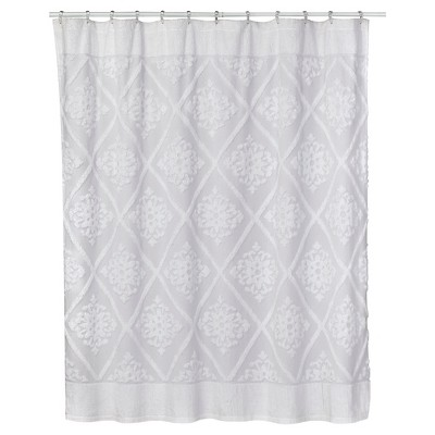 Chenille Belle Cotton Shower Curtain White - Creative Bath®