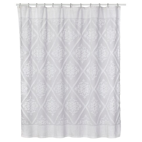 Chenille Belle Cotton Shower Curtain White