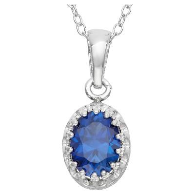 Tiara Sterling Silver Oval-Cut Birthstone Crown Pendant
