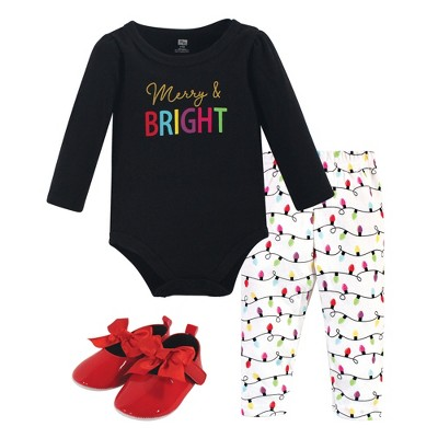 Hudson Baby Infant Girl Cotton Bodysuit, Pant and Shoe 3pc Set, Merry & Bright