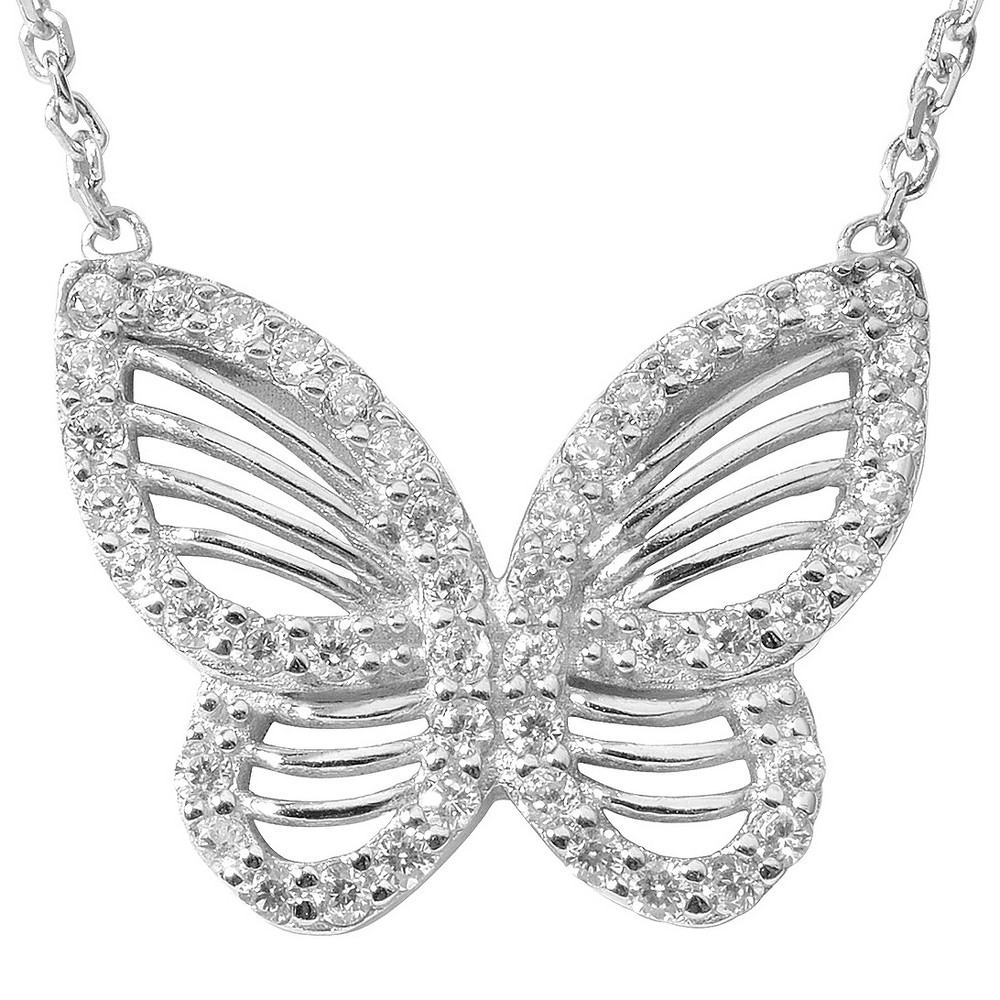 1/2 CT. T.W. Roundcut CZ Pave Set Butterfly Pendant Necklace in Sterling Silver - Silver (18), Girl's