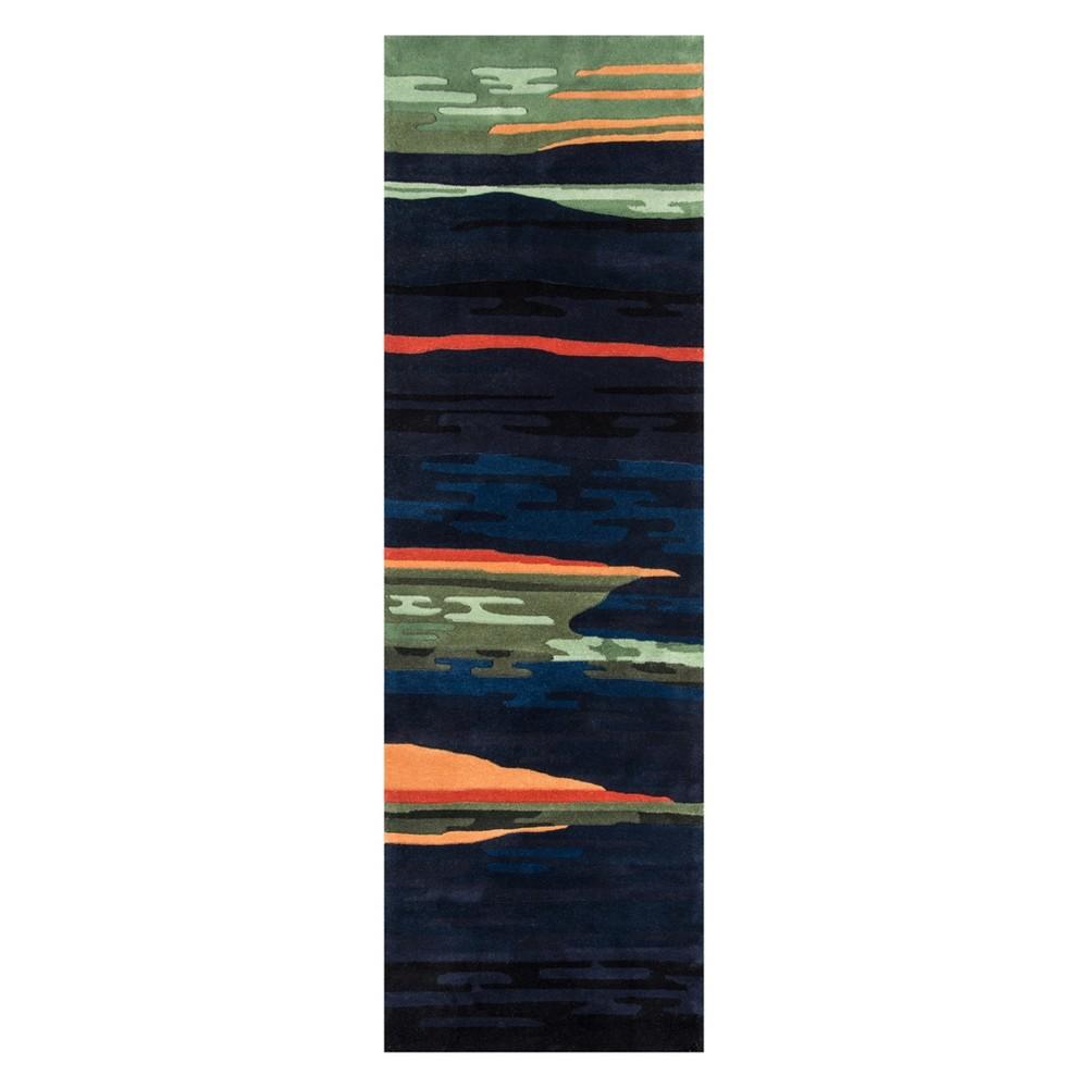 2'6X12' Geometric Tufted Runner Navy (Blue) - Momeni