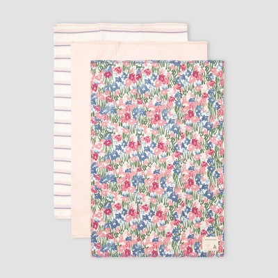 Burt's Bees Baby® Baby Girls' 3pk Organic Cotton Flower Fields Burp Cloth - Blue