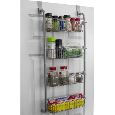 Home Basics Heavy Duty 4 Tier Over the Door Metal Pantry Organizer, Grey