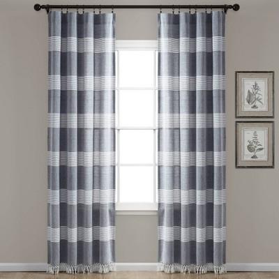 Set of 2 Tucker Stripe Yarn Dyed Cotton Knotted Tassel Light Filtering Window Curtain Panels - Lush Décor