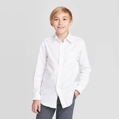 Boys' Long Sleeve Button-Down Shirt - Cat & Jack™ White XS