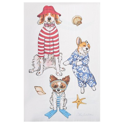 C&F Home Beach Dog July 4th Embroidered Waffle Weave Cotton Kitchen Towel