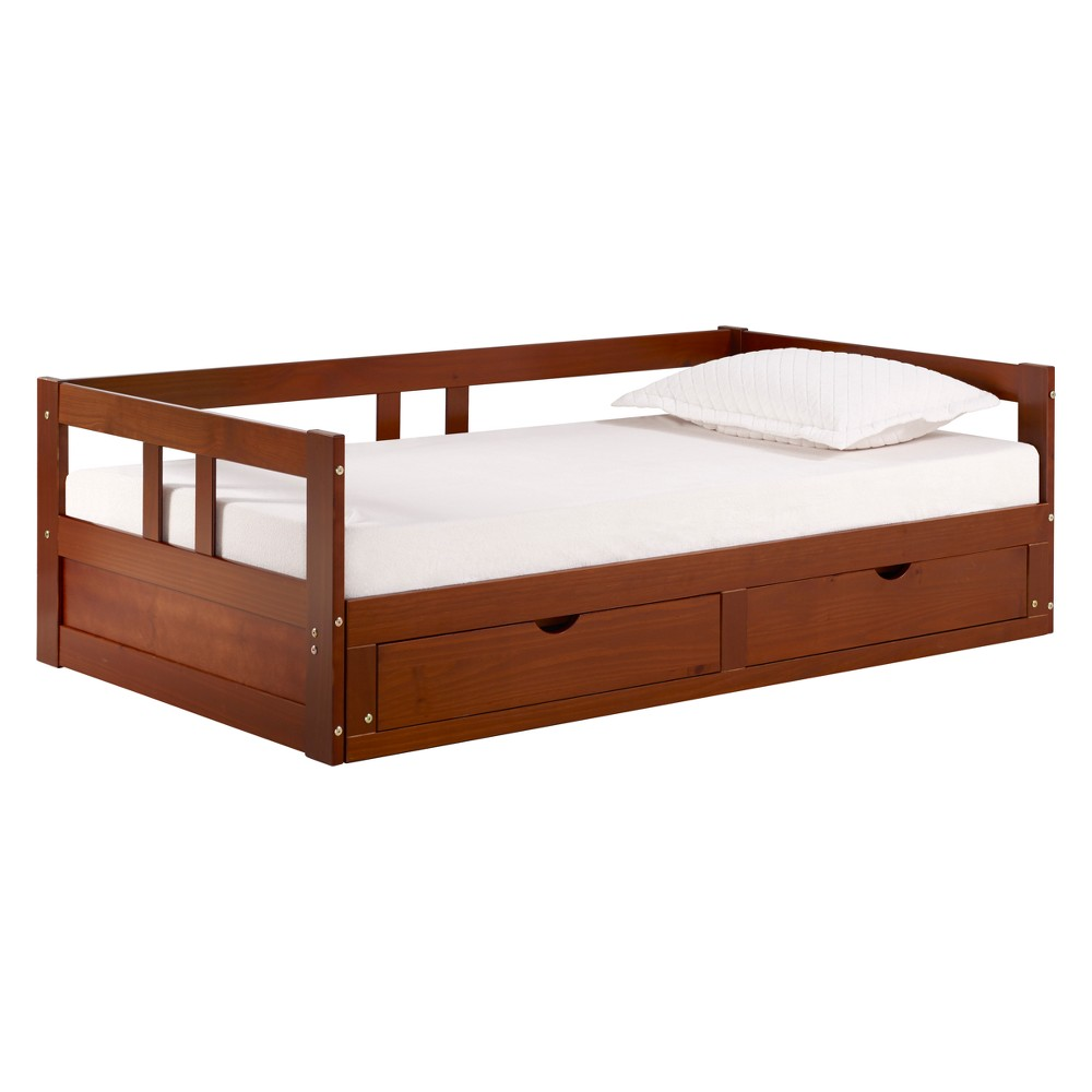Image of Melody Day Twin to King Bed With Storage Chestnut - Bolton Furniture, Brown