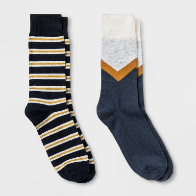 Men's Striped Novelty Socks 2pk - Goodfellow & Co™ Cream Marl/Yellow/Navy 7-12