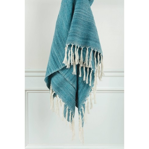 """50""""x60"""" Stripe Throw Blanket Teal - Rizzy Home - image 1 of 4"""