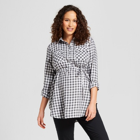 584fb4a4e3182 Maternity Long Sleeve Plaid Popover Tunic - Isabel Maternity by Ingrid &  Isabel™