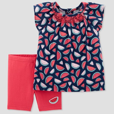 Baby Girls' 2pc Watermelon Top and Shorts Set - Just One You® made by carter's Red 3M
