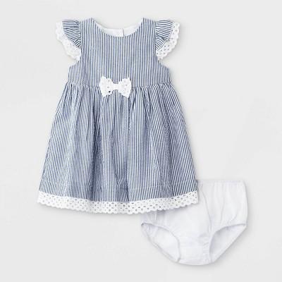 Mia & Mimi Baby Girls' Seersucker Dress - Blue/White 0-3M